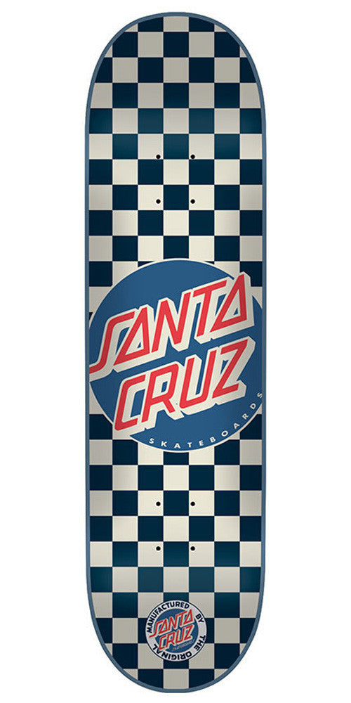 Santa Cruz Check Dot - White/Blue - 7.9in x 31.7in - Skateboard Deck
