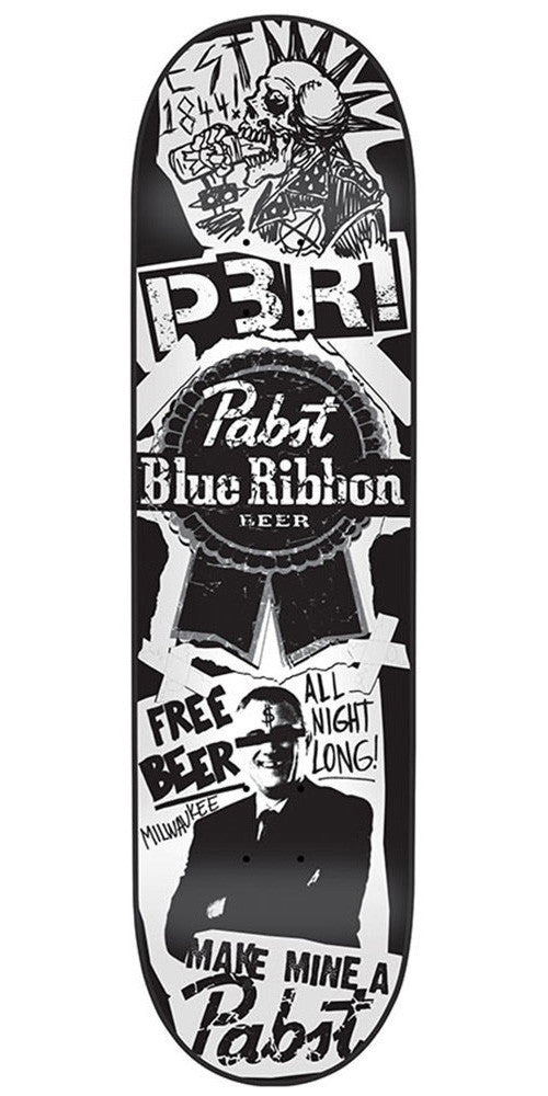 Santa Cruz PBC PBR Flyer - Black/White - 31.6in x 8.0in - Skateboard Deck
