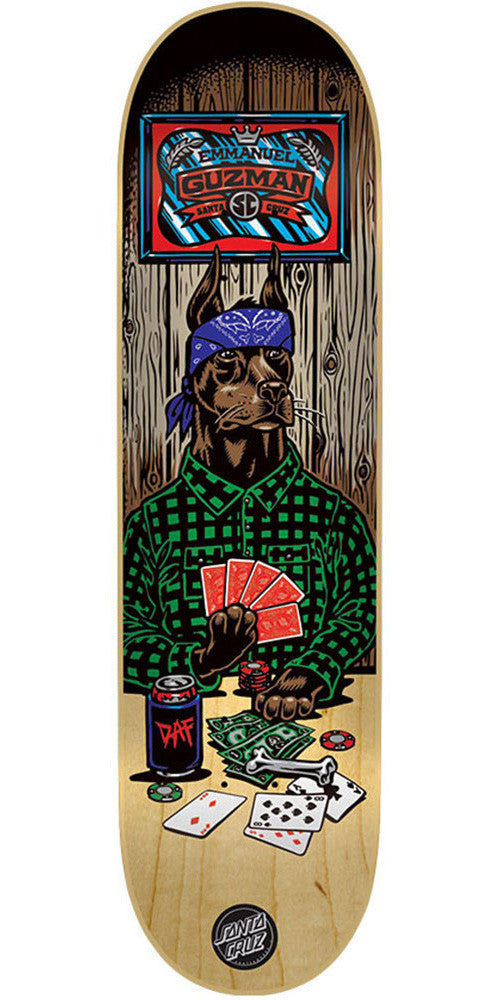 Santa Cruz Guzman Poker Dog - Multi - 31.9in x 8.2in - Skateboard Deck