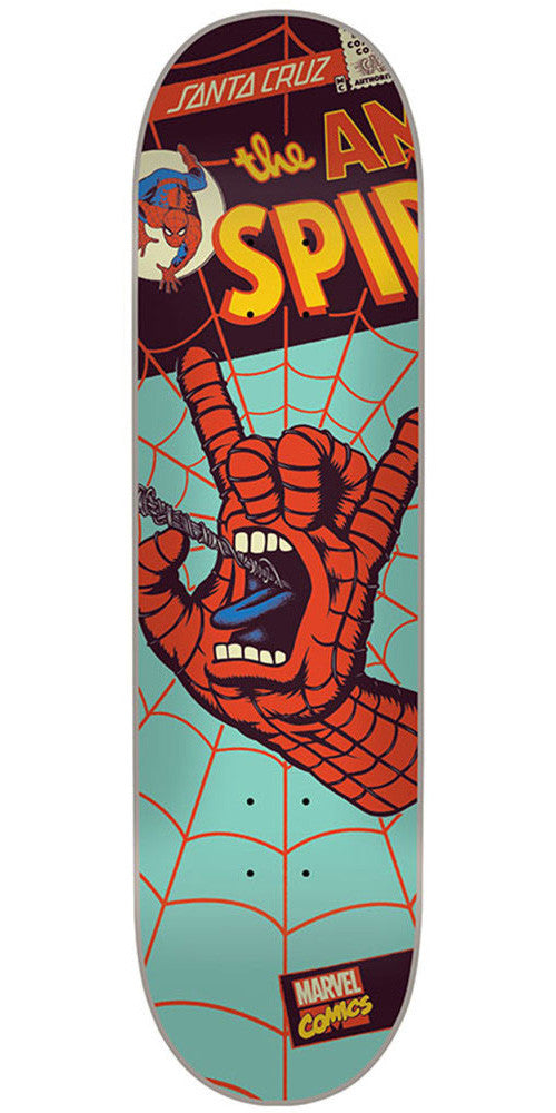 Santa Cruz Marvel Spiderman Hand - Teal - 31.6in x 8.0in - Skateboard Deck