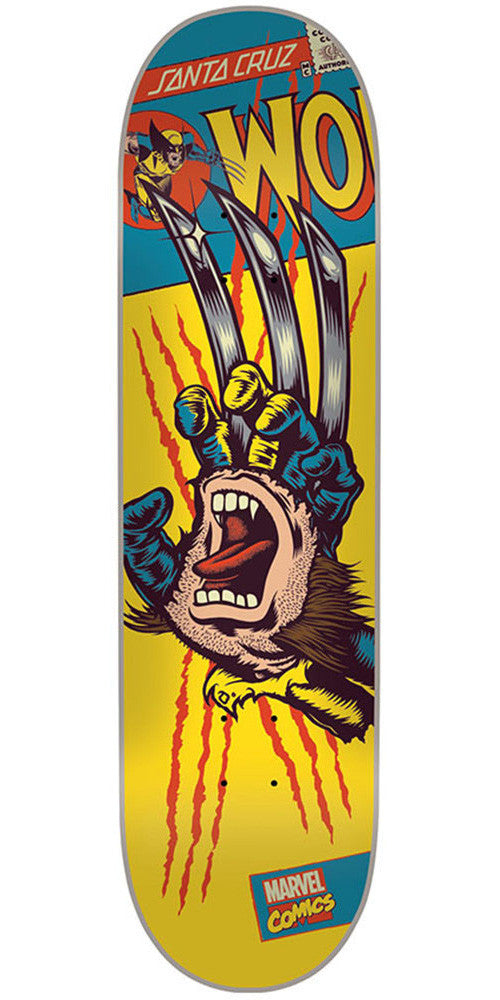 Santa Cruz Marvel Wolverine Hand - Yellow - 31.7in x 8.26in - Skateboard Deck