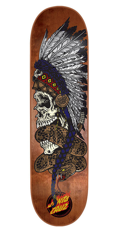 Santa Cruz Headdress Team - Brown - 32.2in x 8.3in - Skateboard Deck