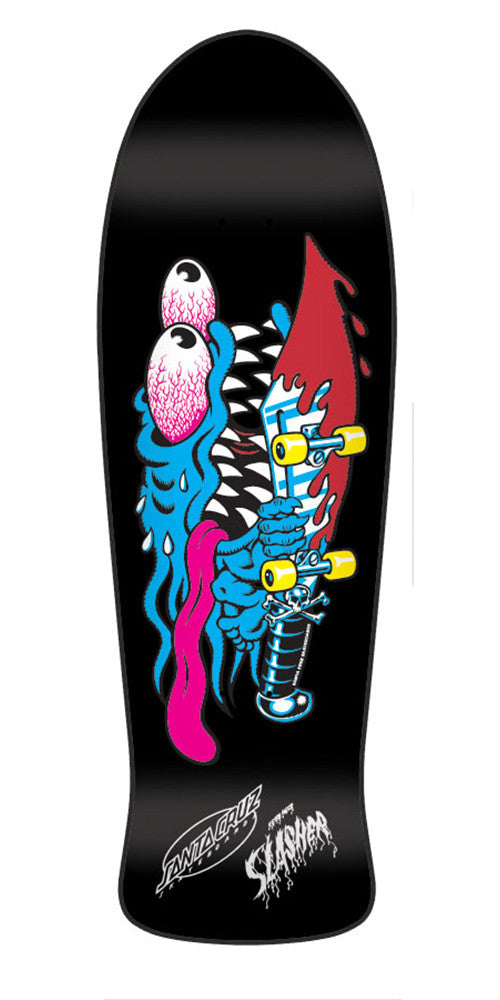 Santa Cruz Slasher Black N Blue Reissue - Black/Blue - 31.13in x 10.1in - Skateboard Deck