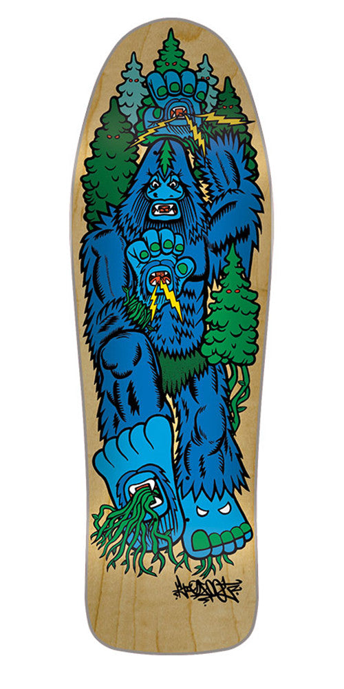 Santa Cruz Bigfoot Hand Team - Natural/Blue - 31.275in x 10.07in - Skateboard Deck