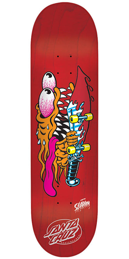 Santa Cruz Slasher Seven Two Team - Red - 7.25in x 29.9in - Skateboard Deck