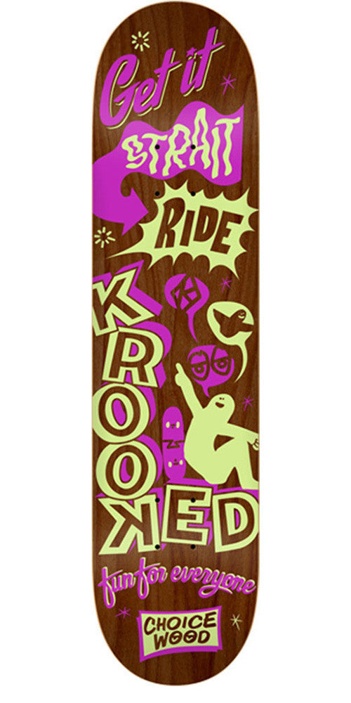 Krooked Viva Voce Medium - Brown - 8.06in x 32.0in - Skateboard Deck