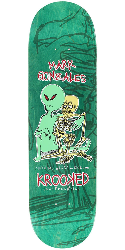 Krooked Mark Gonzales Odd Couple - Green - 8.38in x 32.56in - Skateboard Deck