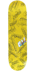 Krooked Skribbles - Yellow - 8.18in x 31.84in - Skateboard Deck