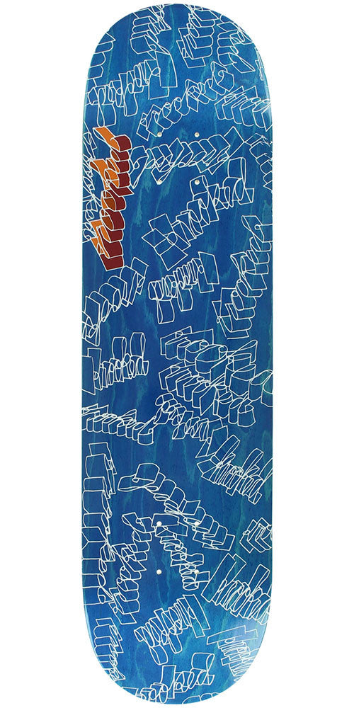 Krooked Skribbles - Blue - 8.43in x 32.57in - Skateboard Deck