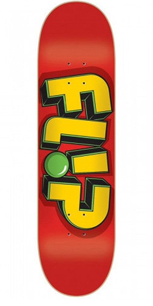 Flip Odyssey Jumbled Red - Red/Yellow - 8in x 31.5in - Skateboard Deck