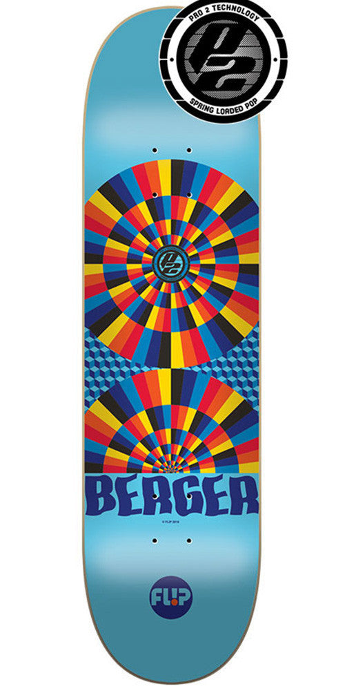 Flip Berger Optical Pro P2 - Blue - 31.5in x 8.0in - Skateboard Deck