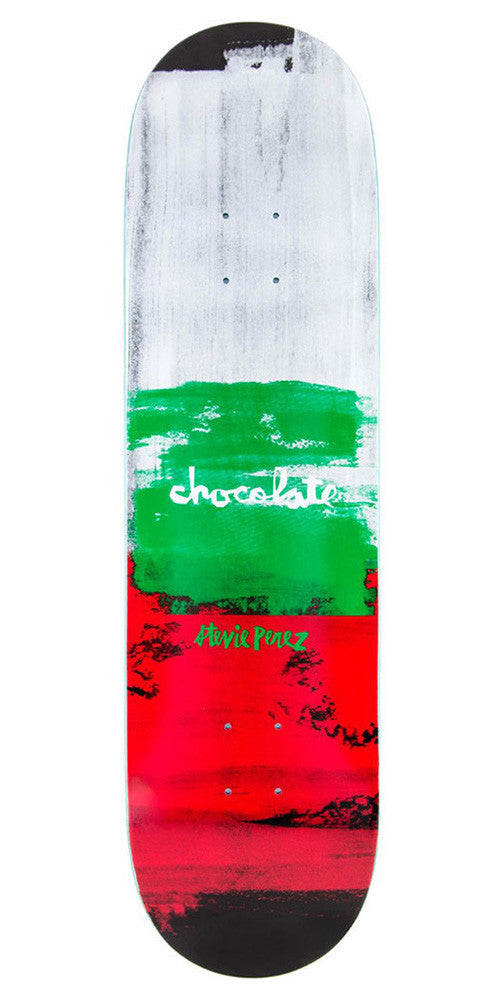 Chocolate Perez Subtle Square - White/Green/Red - 8.25in x 31.875in - Skateboard Deck