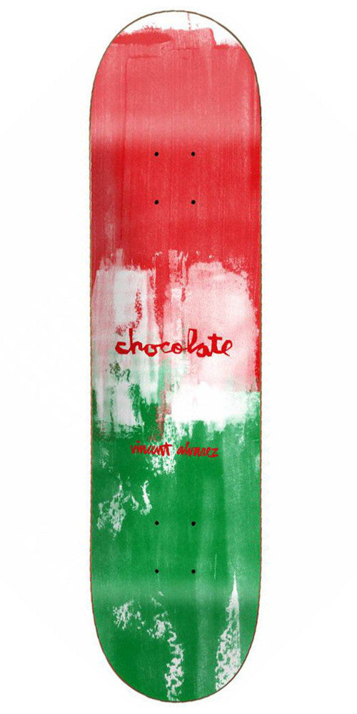 Chocolate Alvarez Subtle Square - Red/White/Green - 8.25in x 32.0in - Skateboard Deck