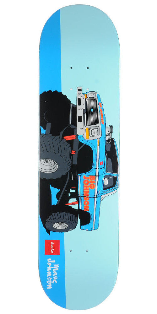 Chocolate Johnson Monster Trucks - Blue - 8.125in x 31.3in - Skateboard Deck