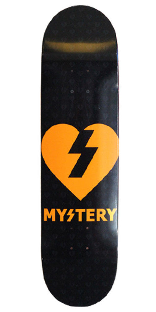 Mystery Heart - Black/Neon Orange - 8.375in - Skateboard Deck