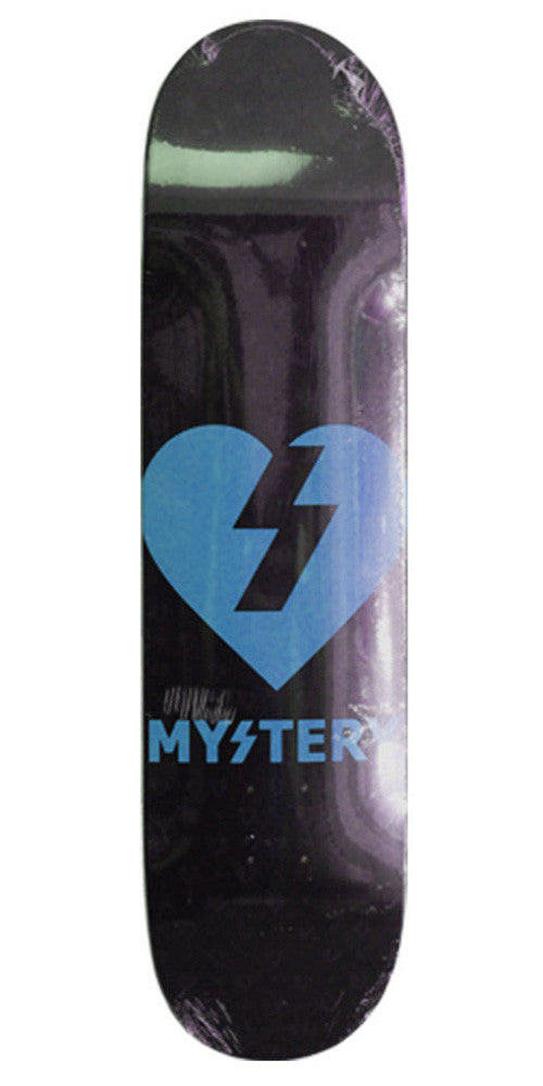 Mystery Heart - Black/Neon Blue - 8.5in - Skateboard Deck