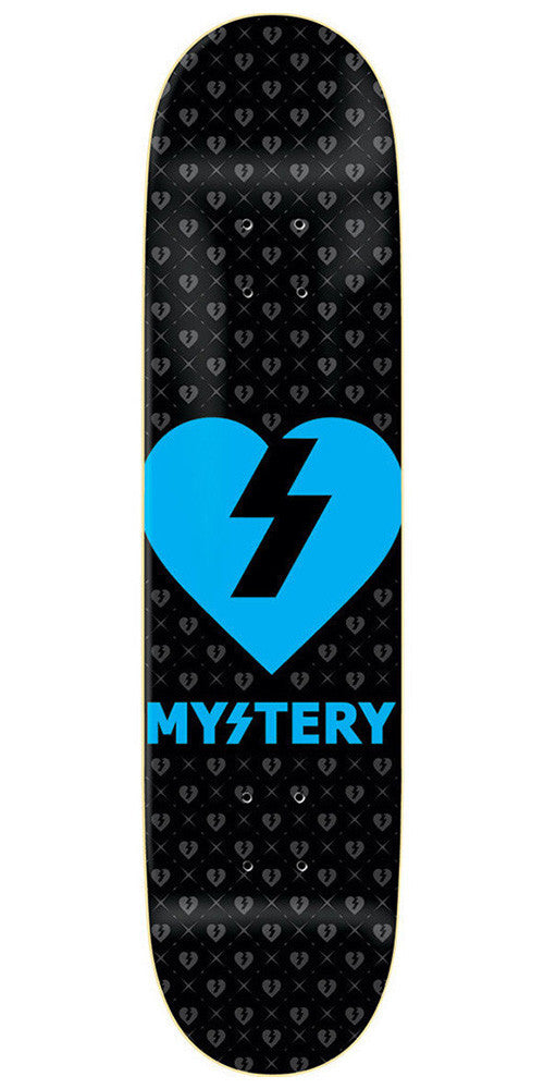 Mystery Heart - Black/Neon Blue - 8.25in - Skateboard Deck