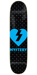 Mystery Heart - Black/Neon Blue - 8.125in - Skateboard Deck
