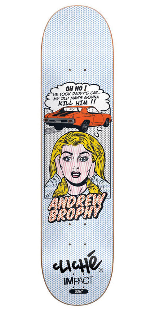 Cliche Andrew Brophy POP Babes Impact Light - White/Blue - 8.25in - Skateboard Deck