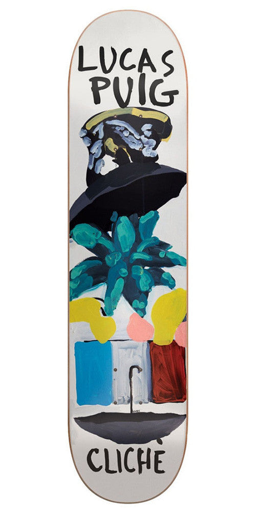 Cliche Lucas Puig Brabs Paint R7 - White - 8.125in - Skateboard Deck