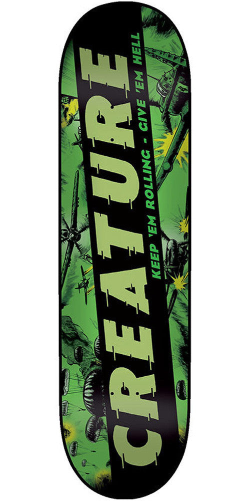 Creature Give 'em Hell Team - Green/Black - 7.8in x 31.7in - Skateboard Deck