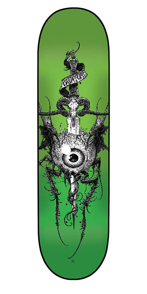 Creature Heathen Sm - Green - 8.26in x 31.7in - Skateboard Deck
