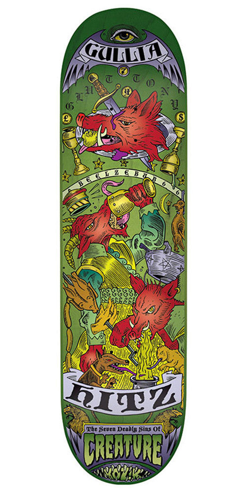 Creature Hitz 7 Deadly Sins - Green - 8.8in x 32.5in - Skateboard Deck