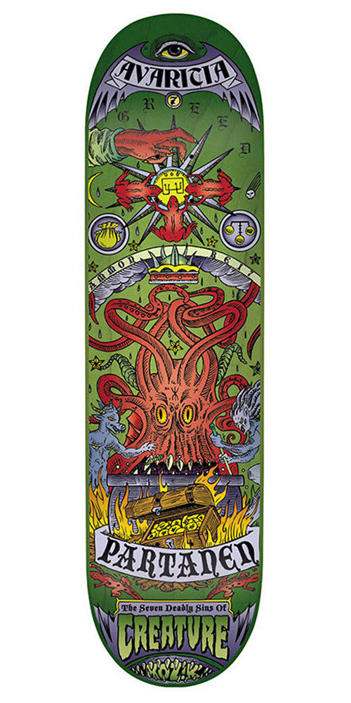 Creature Partanen 7 Deadly Sins - Green - 8.2in x 31.9in - Skateboard Deck