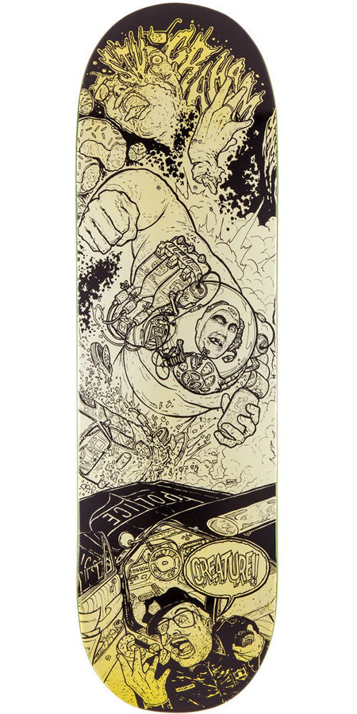 Creature Graham Rumble Series Pro - Black/Yellow - 33.0in x 9.0in - Skateboard Deck