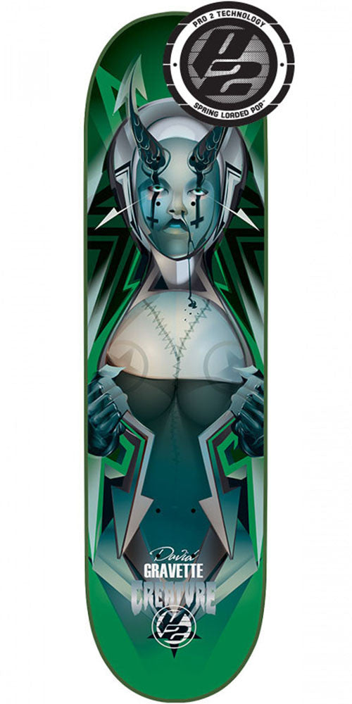 Creature Gravette Bad Habits P2 - Green - 8.25in x 32.04in - Skateboard Deck