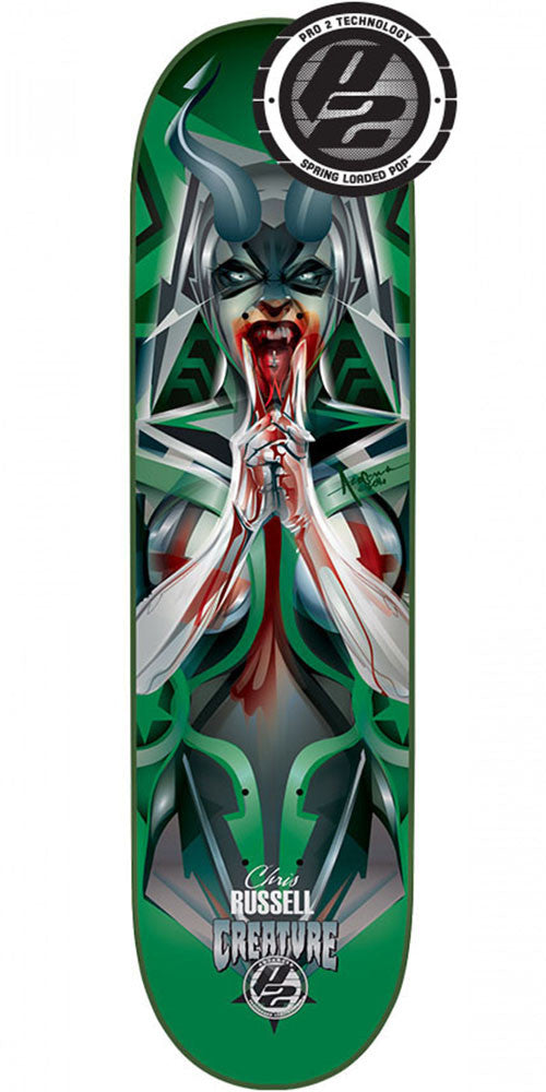 Creature Russell Bad Habits P2 - Green - 8.5in x 32.25in - Skateboard Deck