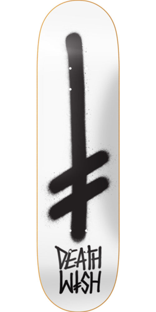Deathwish Gang Logo - 8.475in - Matte White/Black - Skateboard Deck