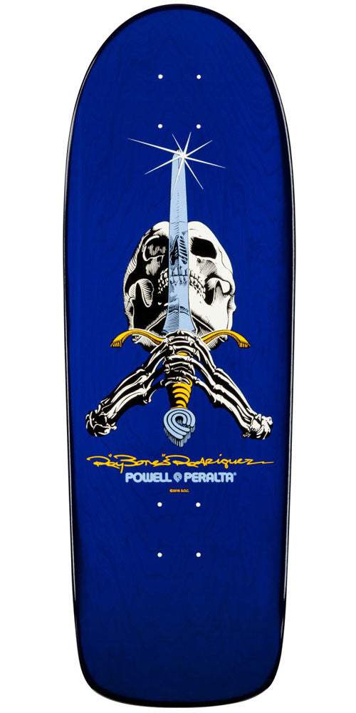 Powell Peralta Ray Bones Skull And Sword - Blue - 10.0in x 30.0in - Skateboard Deck