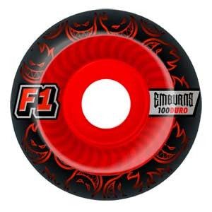 Spitfire F1 Street Burner Emburns Infernos - Black/Red - 53mm 100a - Skateboard Wheels (Set of 4)