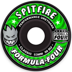 Spitfire Classic Black Formula Four - Black - 53mm 99a - Skateboard Wheels (Set of 4)