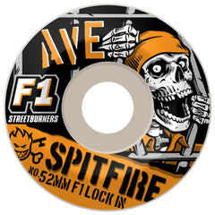 Spitfire Ave Jailbreak Lock-In F1 Streetburners - White - 52mm 100a - Skateboard Wheels (Set of 4)