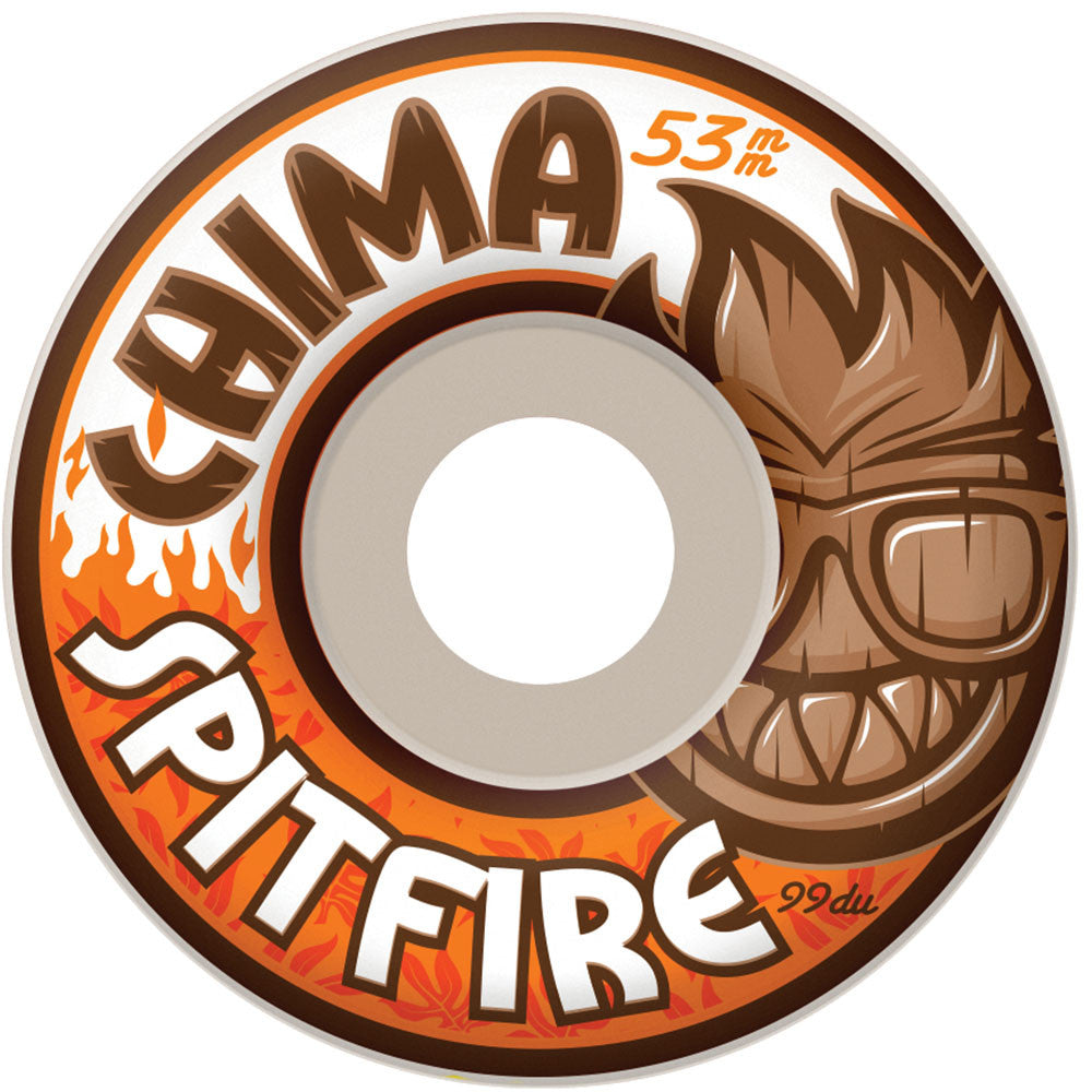 Spitfire Chima Chillout Classic - White - 53mm 99a - Skateboard Wheels (Set of 4)