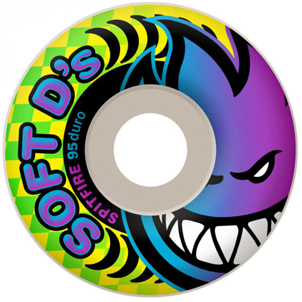 Spitfire Soft D's - White - 54mm 95a - Skateboard Wheels (Set of 4)