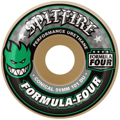 Spitfire Formula Four Conical - White/Green - 51mm 101a - Skateboard Wheels (Set of 4)