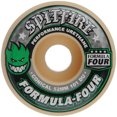Spitfire Formula Four Conical - White/Green - 52mm 101a - Skateboard Wheels (Set of 4)