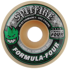 Spitfire Formula Four Conical - White/Green - 53mm 101a - Skateboard Wheels (Set of 4)