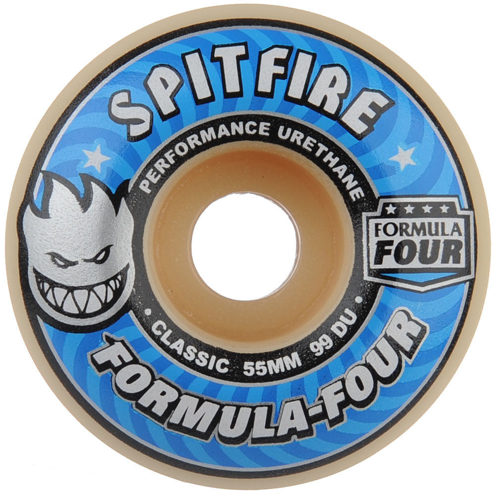 Spitfire Formula Four Classic - White - 55mm 99a - Skateboard Wheels (Set of 4)
