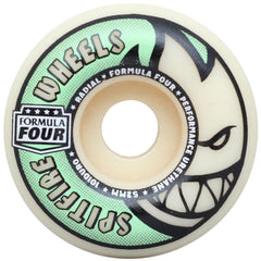 Spitfire Formula Four Stay Lit Glow Radial - Tan/Green - 52mm 101a - Skateboard Wheels (Set of 4)