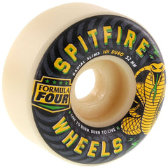 Spitfire Formula Four Radial Slim Speed Kills  - White/Green/Yellow - 52mm 101a - Skateboard Wheels (Set of 4)