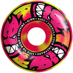 Spitfire Formula Four AfterBurners - Yellow/Pink Swirl - 52mm 99a - Skateboard Wheels (Set of 4)