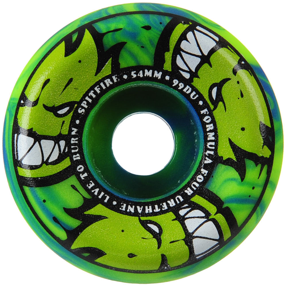 Spitfire Formula Four AfterBurners Conical Full - Green/Blue Swirl - 54mm 99a - Skateboard Wheels (Set of 4)