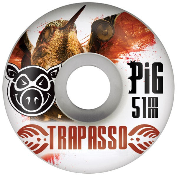 Pig Nick Trapasso Base - White - 51mm 101a - Skateboard Wheels (Set of 4)