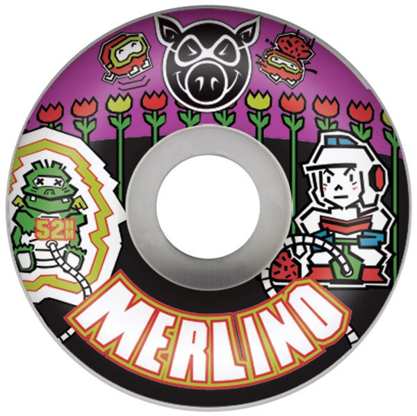 Pig Nick Merlino Gamer II - White - 52mm 101a - Skateboard Wheels (Set of 4)