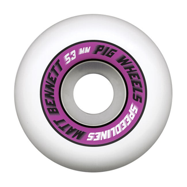 Pig Matt Bennett Pro Speedline - White - 53mm - Skateboard Wheels (Set of 4)