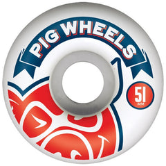 Pig Head Banner - White - 51mm - Skateboard Wheels (Set of 4)
